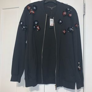Guess oversized jacket with sequins flowers